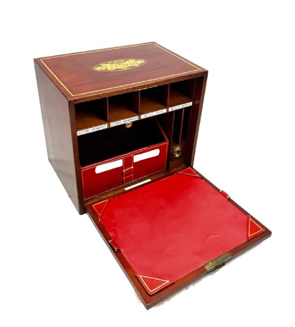 Edwardian Mahogany Stationary Box / Wooden Cabinet / Secret Compartment Antique